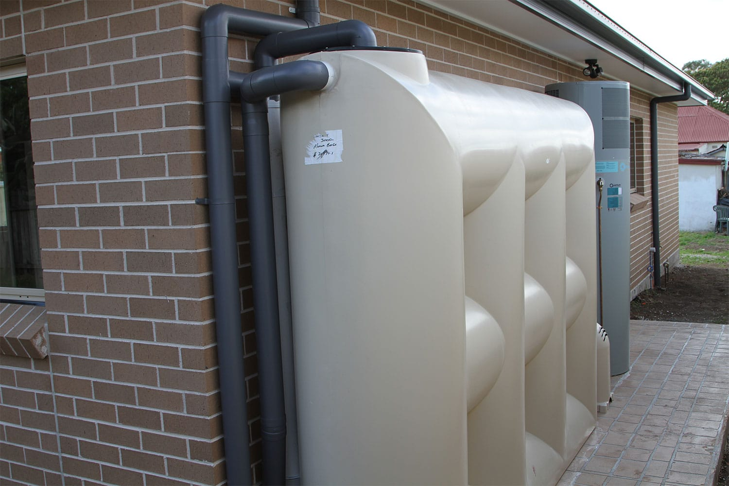 External Rainwater Tank and Electric Hot Water