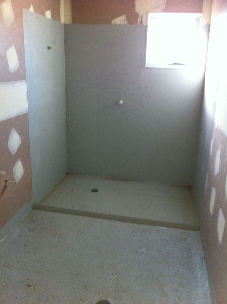 Heavy Duty Polyurethane Waterproofing To Villaboard Sheets & High Density Angle At Shower Recess To Stop Water Travel