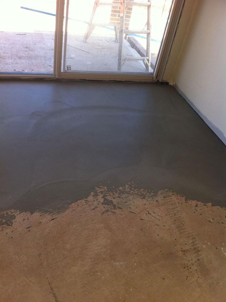 K15 Floor Leveller Applied To Concrete Floor Where Concretor Produced Uneven Surfacing