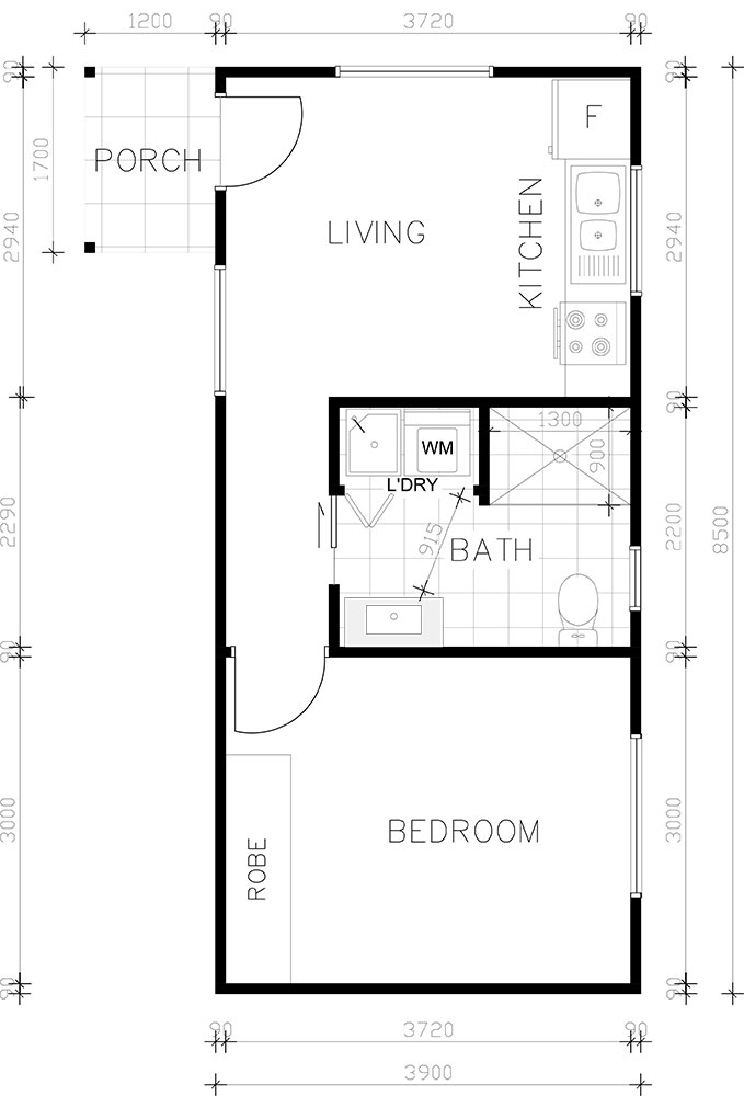 One bedroom granny flat floor plan