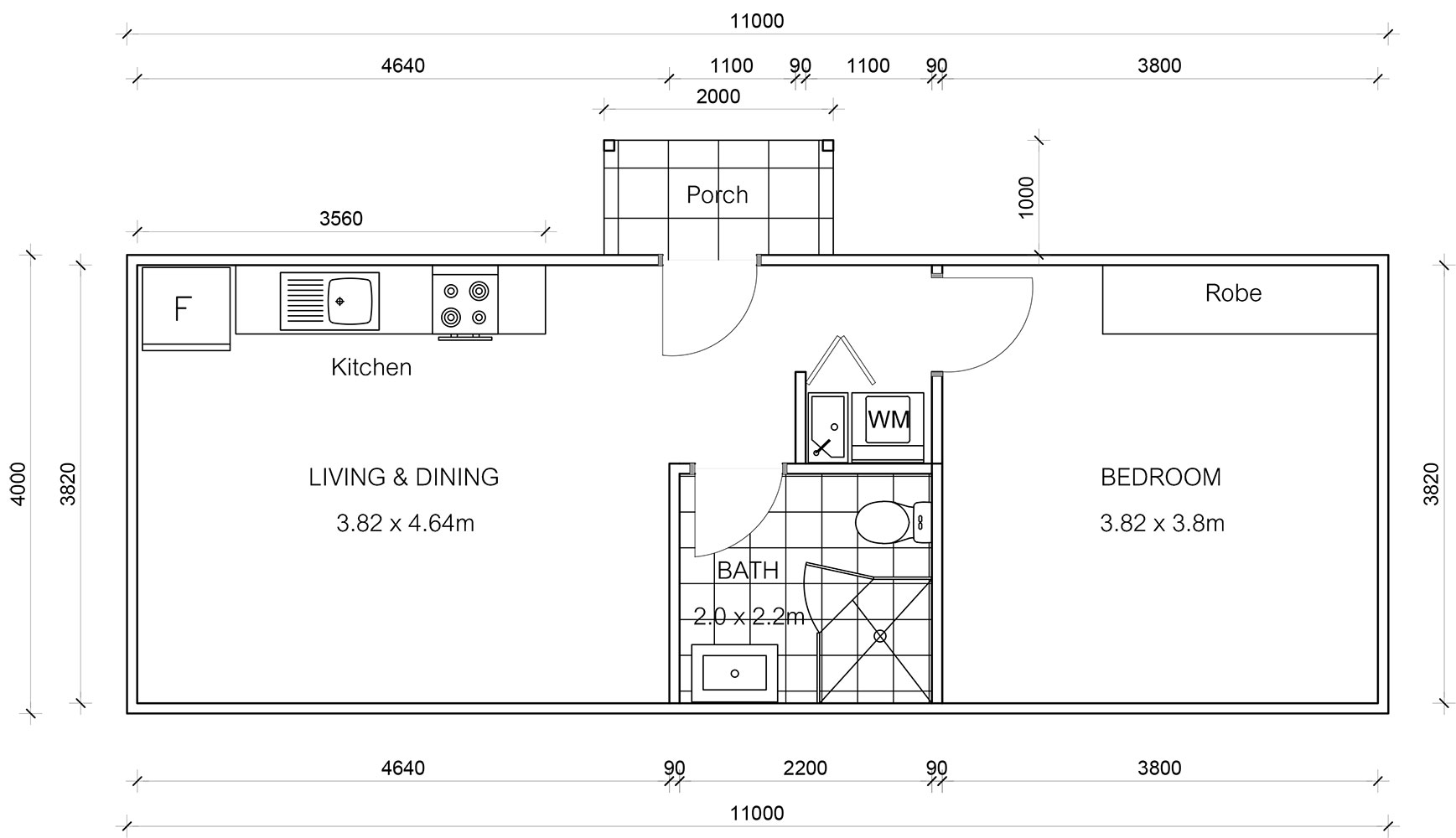 One Bedroom Granny Flat Plan