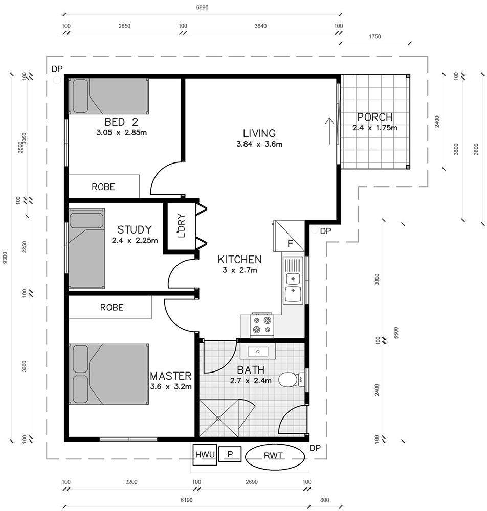 Three Bedroom Granny Flat Floor Plan