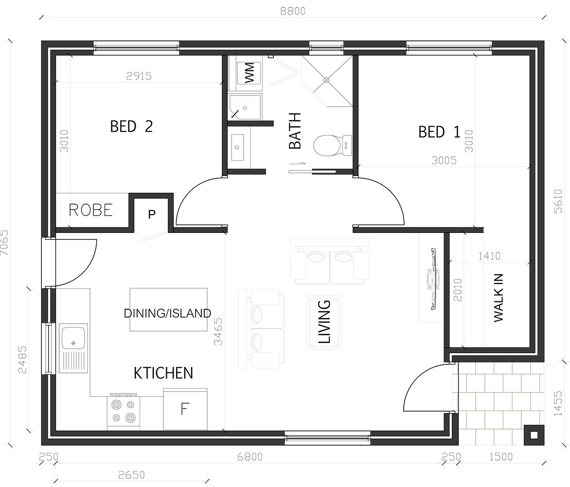 Two Bedroom Granny Flat Plan